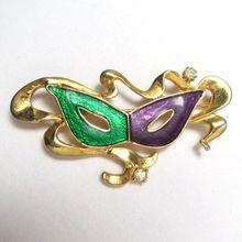 SOLD! Vintage Enamel Theatrical Mardi Gras Masquerade Mask Brooch
