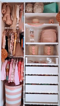 Little Girl Closet, Baby Girl Closet, Baby Closets, Baby Nursery Closet, Toddler Closet Organization, Kids Closet Storage, Bedroom Organization, Closet Ideas Kids, Organizing Baby Rooms