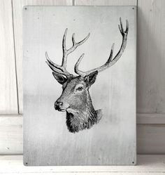 Stags Head sign A4 metal plaque picture home deco by artylicious