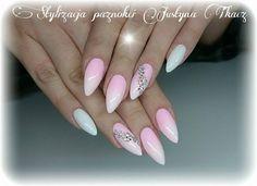 Gel Brush Maybe Baby & Sugar Effect od Justyny Tkacz #nails #nail #ombre #white #pink #pinknails #whitenails #swarovski