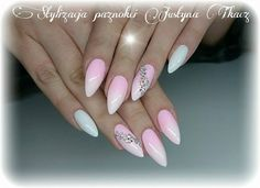 Gel Brush Maybe Baby & Sugar Effect od Justyny Tkacz #nails #nail #ombre #white #pink #pinknails #whitenails #swarovski