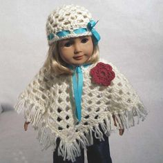 "Sweet 18"" Doll Poncho, Hat Pattern"