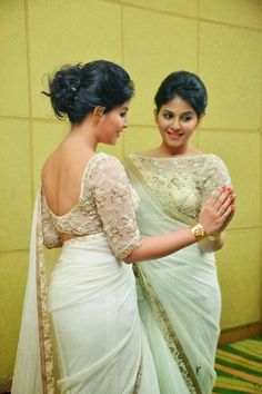 Bollywood Actresses Pictures Photos Images: South Indian Actress Anjali Show Bare Back Backless in Transparent Saree and Blouse Pictures