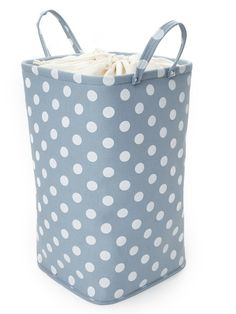 laundry basket in polkadots could make laundry more fun