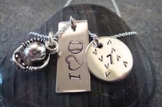 I Love Baseball Necklace with handstamped by MoonGlitterJewelry, $39.00