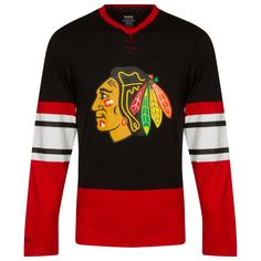 Chicago Blackhawks Men s Black and Red Jersey Style Long Sleeve Shirt by  Reebok  Chicago   f9860b577