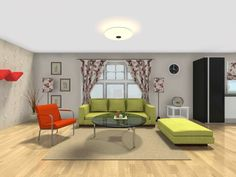 Living room space remodeled with bright orange and apple green and room for the pet fish. Designed by Baezeni in RoomSketcher Pro.  Learn more how RoomSketcher can help you remodel:  http://www.roomsketcher.com/blog/thousands-of-norwegians-plan-their-remodeling-online/  #remodel #remodeling #colors #floorplans