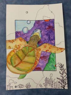 Sea Creature Watercolor Art project - Junior High Art class - Mixed media art