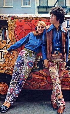 """19060's amazing """"Hippie Fashion"""" that is absolutely fabulous! Just look at those printed pants."""