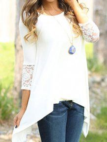 White Round Neck Long Sleeve Lace Slim Blouse