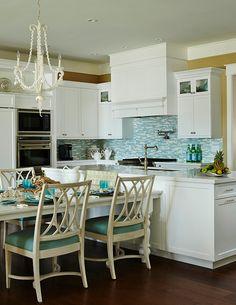Turquoise Kitchen. White and turquoise kitchen. Coastal Turquoise kitchen. White kitchen with turquoise decor. #KItchen #Turquoise JMA Interior Design.