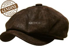 100% Genuine Leather Mens Ivy Hat Golf Driving Ascot Flat Cabbie Newsboy