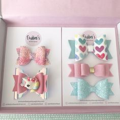 Pink Unicorn and Hearts Gift Set, Unicorn Hair Bow, Pink Wool Felt Bow, Ombre Pink Glitter Bow, Baby Unicorn Hair Color, Princess Hair Bows, Emilia, Halloween Hair Bows, Felt Bows, Diy Hair Accessories, Leather Accessories, Unicorn Gifts, Charms