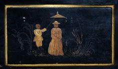 Mora clock , original painting chinoise in the Rokoko period around 1780