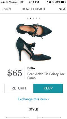 December 2016 Stitch Fix, Diba Perri Ankle Tie Pointy Toe Pump