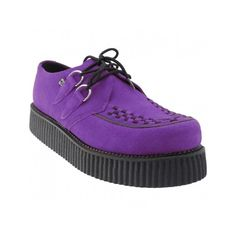 Purple (83 CAD) ❤ liked on Polyvore featuring shoes, laced up shoes, lace up shoes, suede lace up shoes, suede shoes and suede leather shoes