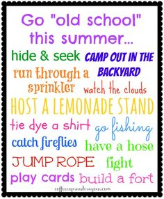 """""""Old school"""" bucket list for summer!  A huge list of activities for children that we used to love when we were little!"""
