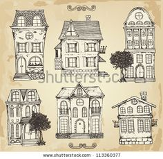 Hand drawn vintage homes - stock vector