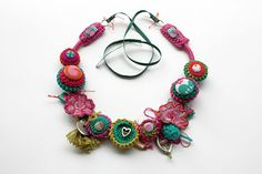 Fiber art necklace crochet with fabric buttons by rRradionica, $160.00