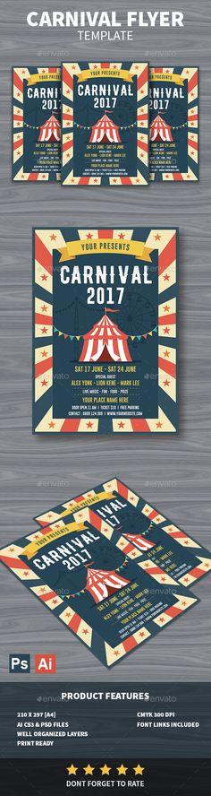 Carnival #Flyer - Events Flyers Download here: https://graphicriver.net/item/carnival-flyer/19462755?ref=alena994