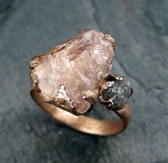 Raw Morganite Diamond Rose Gold Engagement Ring por byAngeline