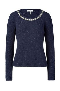 SANDRO  Navy Mélange Beaded Neck Sweater