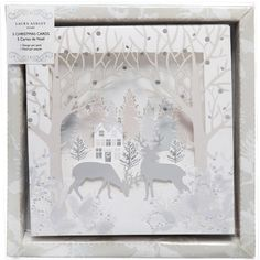 Laura Ashley Pack of 10 Christmas Cards with Silver/Blue Winter Scene