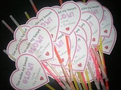 """Valentines for my students: CHECK!  I am giving them glow sticks that say """"You make my heart glow!""""   Tomorrow, at the end of the day, I am ..."""