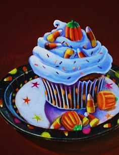 A festive Halloween cupcake
