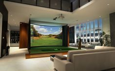 indoor golf simulator room | Resolution Curved Widescreen Golf Simulators from High Definition Golf ...