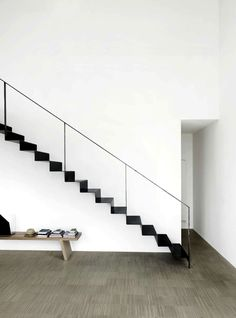 Minimalistic black and white staircase.