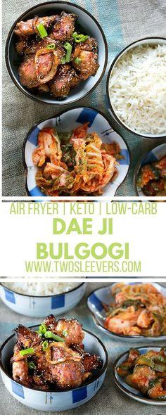 Air Fryer Korean Grilled Pork Dae Ji Bulgogi | Korean Pork | Bulgogi Recipe | Air Fryer Recipe | Korean Air Fryer Recipe | Air Fryer Pork Recipe | Two Sleevers #airfryerrecipe #bulgogirecipe #koreanrecipe via @twosleevers