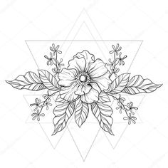 Download - Hand drawn boho tattoo. Blackwork flower in hipster triangles fr — Stock Illustration