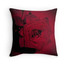 Gorgeous Velvety Red Rose throw pillow flower floral art red and black blooming rose by Adri Turner of Minding My Visions  https://www.facebook.com/mindingmyvisions www.mindingmyvisions.com