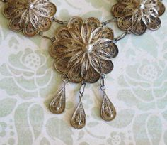 Vintage Sterling Silver Italian Filigree Necklace