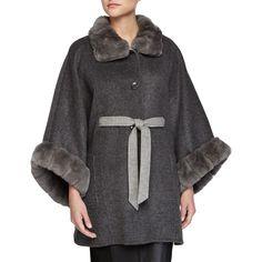 La Fiorentina Cape w/High-Neck Fur Trim featuring polyvore, fashion, clothing, outerwear, grey, fur trimmed cape, cape coat and la fiorentina