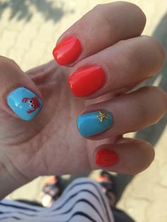 Summer nails #summer #nails #ceab #ocean #sea #beach #orangered