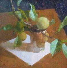 Jon Redmond, Apple Branch, 2013, oil on board, 10 x 10 inches