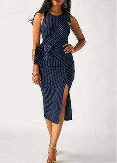 Navy Blue Patchwork Belted Side Slit Dress on sale only US$34.90 now, buy cheap Navy Blue Patchwork Belted Side Slit Dress at liligal.com