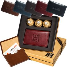 LG-9219 Ferrero Rocher® Chocolates & Soho Magnetic Card Case. Includes the LG-9003 Soho Magnetic Card Case and a 3-pack of Ferrero Rocher® Hazelnut Chocolates. Card case is made from glazed cowhide leather with an ultra-suede lining, magnetic closure, and holds approx. 20 standard business cards.