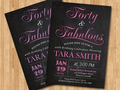 40th birthday invitation for women. Pink, Purple, Tiffany Blue, Any color. Elegant Chalkboard. 30th 50th 60th any age. Printable digital DIY on Etsy, $10.00