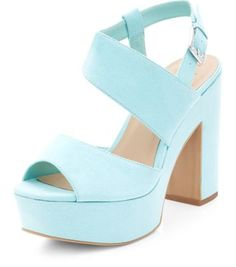 Wide Fit Mint Green Asymmetric Chunky Block Heels