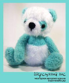 """Бирюзовый мишка-панда. Коллекция """"Малыши"""" #teddybears #handmade #toys #teddybears #presents #knitting"""
