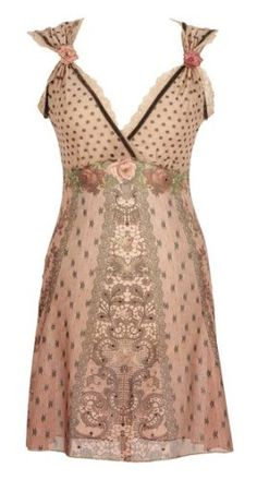 Michal Negrin Flirty Beige High Waist Tunic Dress Enhanced with Victorian Roses, Polka Dot and Star Patterns, Lace Trim and Contrast Velvet Strips and Black Swarovski Crystals: Amazon.com: Clothing