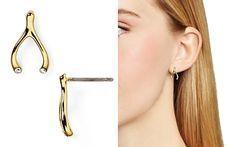 kate spade new york Dainty Sparklers Wishbone Stud Earrings