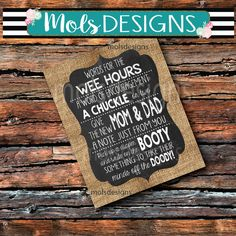 INSTANT Download WEE HOURS Diaper Doody Game Sign Girl or Boy Baby Shower Game Burlap Dirty Chalkboard 8x10 printable sign Diaper Messages