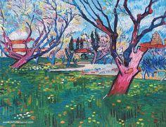 Van Gogh Vue d'Arles Verger ou arbres en fleurs