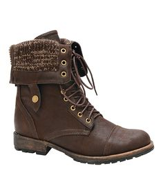 Another great find on #zulily! Brown Knit Cuff Galaxy Fold-Over Boot by Nature Breeze #zulilyfinds