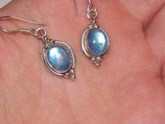 Beautiful bluish green moonstone sterling silver earrings by MerakiByMe on Etsy