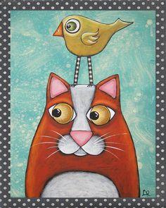 Folk Art Cat Bird PRINT of original mixed media by HipHeartStudio2